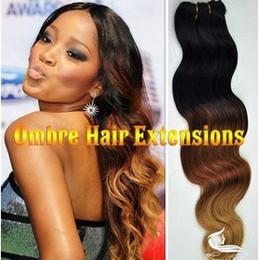 Oxette malaio on-line-Oxette Malaio onda do corpo virgem ombre # 1b # 33 # 27 cabelo virgem humano tecer extensão 3 pacotes