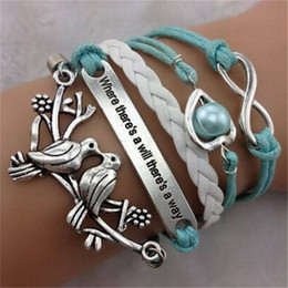 Wholesale Infinite Leather Bracelets - 24 Mix randomly 12 Styles Infinite Believe Hunger Games Anchor Love Jesus Owl Multilayer Pattern Leather Bracelet