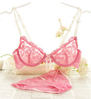 Ultra- thin transparent lace sexy bra set gather breathable c...