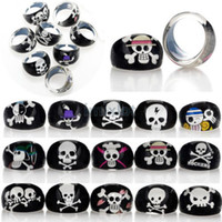 Wholesale Skull Jewelry Child - Fashion Wholesale Lots 36pcs Cool Resin Lucite Skull Pattern Kid Children Ring Jewelry Free Ship [JR05019*36]