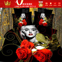 Wholesale Yellow Bedding Roses - Home Textile 3D printed duvet cover bed sheet Marilyn Monroe red rose flower antistatic bedding sets queen size 4pcs