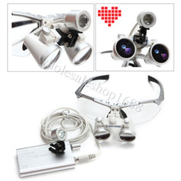Wholesale Surgical Head Lamp Loupes - 2014 CE Dental Surgical Medical Binocular Loupes 3.5X420mm Optical Glass Loupe+LED Head Light Lamp Silver RDL-088