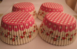 Wholesale Stripe Cupcake Case - lastest cute lovely beautiful flowers with pink stripes cupcake cupcakes liners baking paper cup muffin cases for party 500pcs lot