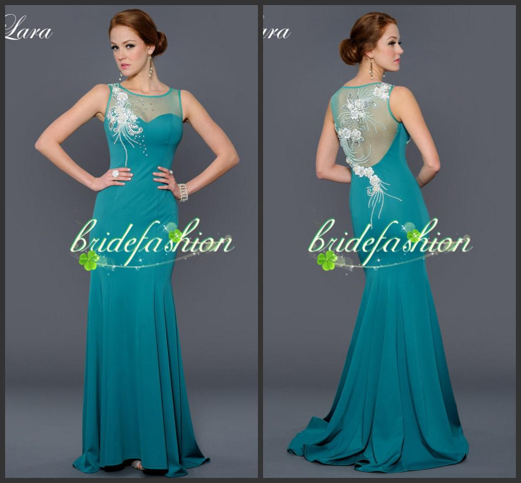2014 Vestidos New Elegant Sheath Green Sheer Neck Crystal Evening Floor Length Beads Pleats Pageant Gowns Long Dresses Party