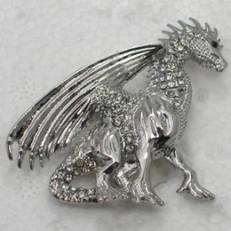Venta al por mayor de cristal Rhinestone Flying Dragon broches moda traje broche regalo de la joyería C464