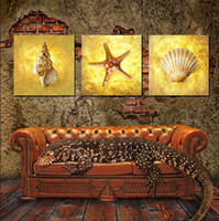 Wholesale Shell Oil Paintings Modern - 3 Pieces Modern Wall Painting shell and seaview sitting room picture wall art oil Painting Home Decorative Art Picture Canvas Prints