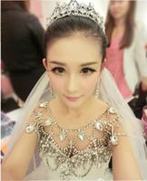 Wholesale Bling Earings - New Luxury Bling crystal Rhinestone Crystal Jewelry Necklace Shining Wedding Bridal Dresses Epaulet Jacket With Earings