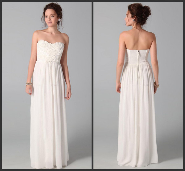 2015 Party Dresses Newest Design Sweetheart White Junior Bridesmaid Dresses Floor-Length Sleeveless Party Gown Evening party Dresses