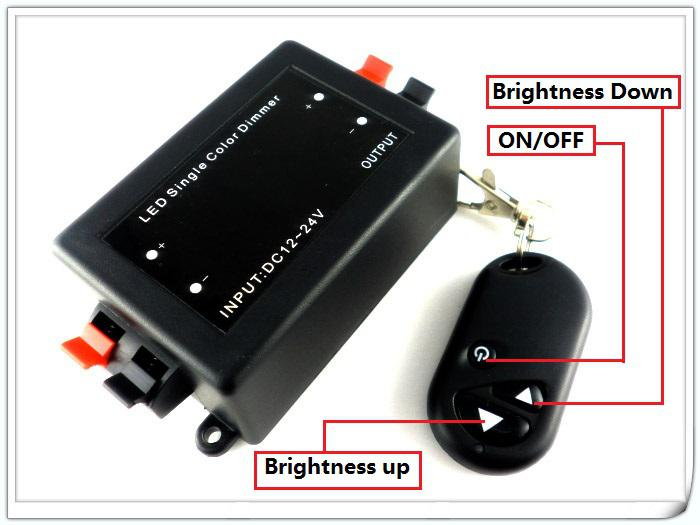 DC 12V 24V DC RF Einfarbiger LED-Dimmer zur Steuerung eines einfarbigen 3528 5050 5630 LED-Lichtstreifens