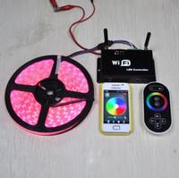 iphone match venda por atacado-A luz de tira do diodo emissor de luz do RGB combinou com a cor do telefone móvel / iPhone / Ipad / PC que muda o controlador de WiFi, com 2 anos de garantia Certificado de RoHS do CE