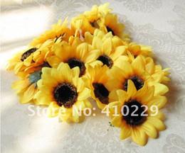 flores artificiais para grampos de cabelo Desconto Venda por atacado - Frete grátis 7cm DIY cabeça de girassol, flores artificiais, grampo de cabelo, ornamentos