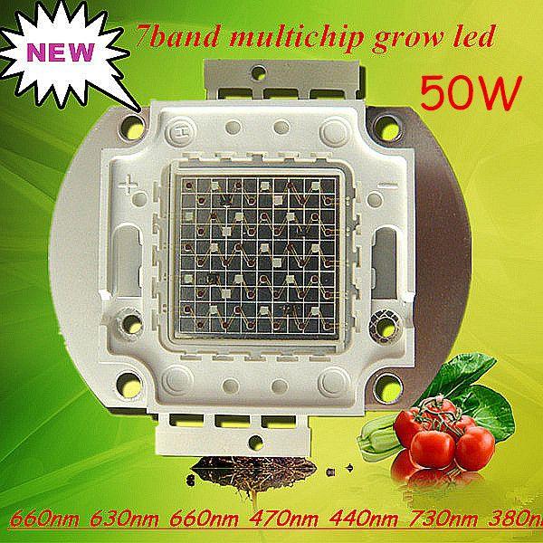 Plantas médicas de interior 50w 7color led chip ligero UV, IR Nueva tecnología COB, Epileds1750mA; DC22-27V