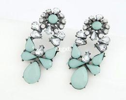 Minze farbe blumen online-Wholesale-über die neue Modeschmuck Minze Farbe multicolor Harz Kristall Blume Ohrringe Produkt Details # D591