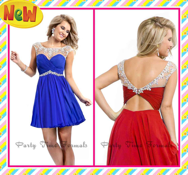 best selling 2019 Fashion Party Dresses Royal Blue Red Mini Sheer Straps With Colored Rhinestones Open Back Ruffles Short Prom Cocktail Homecoming Gowns