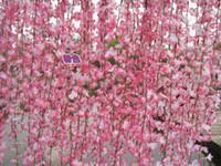 Wholesale String Artificial Fake Flowers - silk flower vines Simulation Cherry Blossom vine artificial flowers rattan string wedding home decorations fake flower vine 33 MYY8364