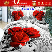 Polyester / Cotton black floral bedding - Fedex Free White black D Home Textiles Luxuriantflowers duvet cover bed sheet pillow romantic rose designs king size
