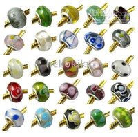 Wholesale 100 MIXED COLOURS JEWELRY MURANO GLASS BEADS FIT CHARM BRACELET