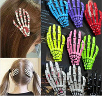 Wholesale Hairpin Bobby - Fashion Skeleton Claws Skull Hand Hair Clip Hairpin Zombie Punk Horror hairwear hairpin bobby pin Hand bone hairpin hair clips Free Shipping