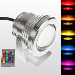 Wholesale Swimming Pool Underwater Light - 10W 12V Silver LED Underwater Flood Light for Landscape Fountain Pond Pool RGB With 24-Key IR Remote Waterproof IP68 Outdoor Garden Lighting