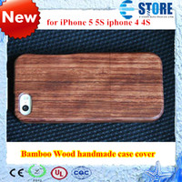 Wholesale Iphone 4s Cases Bamboo - Natural Bamboo Wood handmade Hand-Carved Wooden Case Cover for iPhone 5 5S iphone 4 4S wu