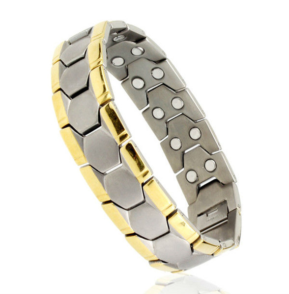 two tones Stainless steel fashion jewelry, men's gold plated double energy magnetic germanium bracelets
