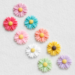 Wholesale Color Sticker Note - Dia 22mm Lovely Small Color Daisy Fridge Magnet Creative Resin Flower Notes Stickers Children Gift 9pcs lot FM097