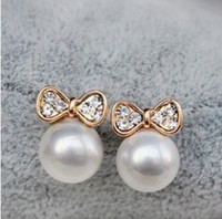 Wholesale shipping xy for sale - Group buy Min order is mix order Korean Fashion Jewelry Butterfly Bow Knot Pearl Earrings For Women XY E136