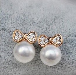 Wholesale Earring Korean Mix - Min.order is $8 (mix order) Free Shipping Korean Fashion Jewelry, Butterfly Bow Knot Pearl Earrings For Women XY-E136