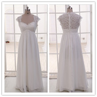 Wholesale Dresses For Pregnant Women Winter - Real Image Vintage Sheer Lace Maternity Wedding Dresses 2016 Plus Size for Pregnant Women Cap Sleeve Beaded Chiffon Beach Empire Bridal Gown