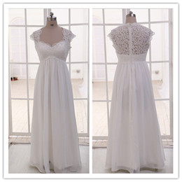 Wholesale Dresses For Pregnant - Real Image Vintage Sheer Lace Maternity Wedding Dresses 2016 Plus Size for Pregnant Women Cap Sleeve Beaded Chiffon Beach Empire Bridal Gown