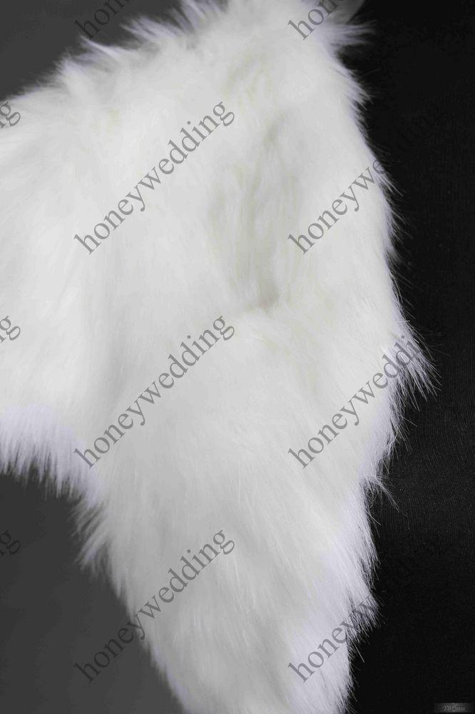 Fashionable White/Ivory Faux Fur Short Sleeve Wedding Jacket Gown DH7247
