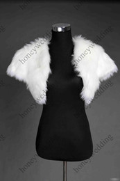 White Faux Fur Shorts Canada - Fashionable White Ivory Faux Fur Short Sleeve Wedding Jacket Gown Free Shipping DH7247