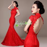 ropa roja china al por mayor-¡Barato! Alta calidad rojo vestido chino Traditonal cuello alto sin espalda moda Vintage encaje de longitud larga Cheongsam Toast ropa