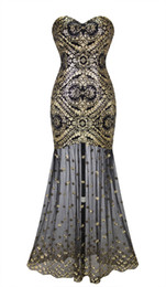 Chinese  Angel-Fahions Women Sleeveless Sweetheart Sequins Embroidery Lace Gold Long Sheer Flapper Gatsby Prom Gowns Illusion Party Dress 042 manufacturers