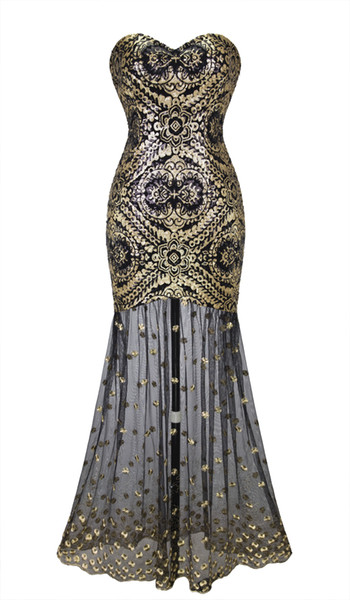 top popular Angel-Fahions Women Sleeveless Sweetheart Sequins Embroidery Lace Gold Long Sheer Flapper Gatsby Prom Gowns Illusion Party Dress 042 2020