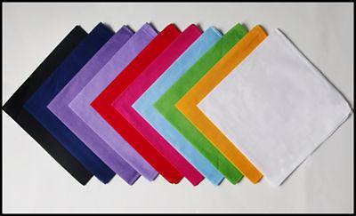 Varm försäljning 20st Blandade färger Bandana 100% Bomull Dubbelsidig Head Wrap Scarf --- Pure Color Bandanas