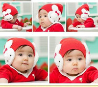 Wholesale Girls Winter Earmuffs - Girl Caps Double Rabbit Earmuffs Cap Children Hats Baby Beanie 5 Color MZ0178