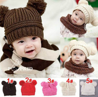 Wholesale Cotton Ball Wholesale - Baby Hats Double Balls Cloche hat For Children Kids Knitted Hat 5 Colors MZ0933