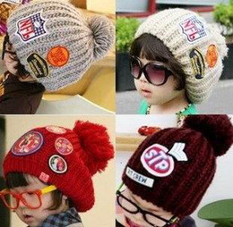 Wholesale Wholesale Childrens Caps - Childrens Caps Baby Knitted Cotton Labelling Hat Parent-Child Cap Baby Beanie 5 Color MZ0138