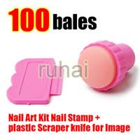 Wholesale Nail Art Plastic - Wholesale - Free Shipping DIY Nail Stamper Set Stamping Nail Art Kit Nail Stamp + plastic Scraper knife for Image paint Plate Design#085