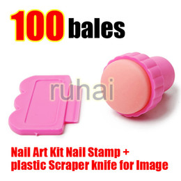Wholesale Design Plates For Nail Art - Wholesale - Free Shipping DIY Nail Stamper Set Stamping Nail Art Kit Nail Stamp + plastic Scraper knife for Image paint Plate Design#085