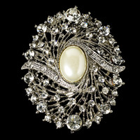 "Wholesale Rhinestone Pearl Flower Brooch - 2.35"" Rhodium Silver Plated Clear Rhinestone Crystal and Ivory Pearl Flower Party Brooch"
