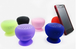 Wholesale Ipad Mini Hand - mini Bluetooth Speaker MIC Voice Box Mushroom Speakers Hands Free Silicone Sucker Waterproof for iPhone iPad Samsung Galaxy
