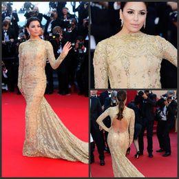 Wholesale Cannes Long Sleeve - Custom made 2014 Sparking Beaded Long Sleeves Gold Lace Mermaid Eva Longoria Backless Red Carpet Celebrity Dresses Formal Dresses