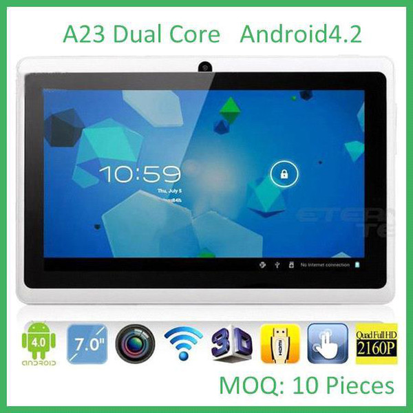 top popular Freeshipping 7inch 7 Inch A23 Dual Core Tablet PC Allwinner Android 4.4 KitKat Capacitive 1.5GHz DDR3 512MB RAM 4GB Dual Camera WIFI MQ10 2019