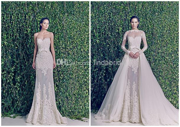 Wedding Dresses Sheer Long Sleeves Zuhairmurad Bridal Gowns Two In ...
