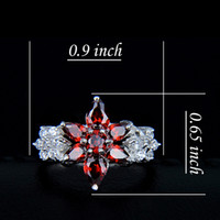 Wholesale Red Solitaire Garnet Ring - 925 sterling silver gemstone jewelry red flower ring R0217