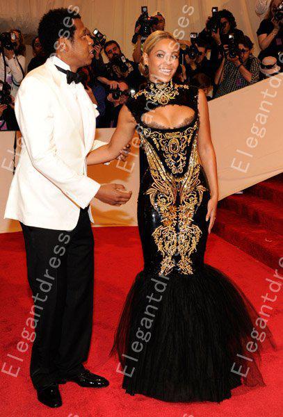 Custom made 2016 Hot Sexy Beyonce MET Gala Preto E Ouro Bordado Frisado Sereia Celebridade Vestidos de Noite Vestidos de Baile Vestidos