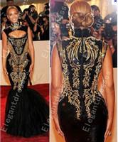 ingrosso vestito da promenade in rilievo oro nero-Custom made 2016 Hot Sexy Beyonce MET Gala Black E Gold Ricamo In rilievo Sirena Celebrity Dresses Abiti da sera Prom Dresses
