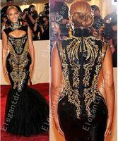 sıcak siyah ünlüler toptan satış-Custom made 2016 Sıcak Seksi Beyonce MET Gala Siyah Ve Altın Nakış Boncuklu Mermaid Ünlü Elbiseleri Abiye giyim Gelinlik Modelleri